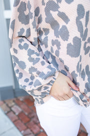 Drew Leopard Print Knit Twist Top