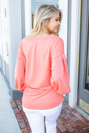 """Heading Out"" Balloon Sleeve Sweatshirt Coral"