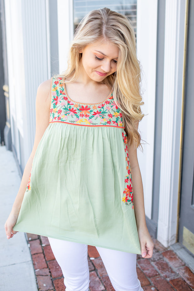 Anna Floral Embroidered Tank Sage