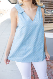 Luna Polka Dot Tie Shoulder Top