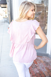 Brooke Peplum Button Down Blouse Pink