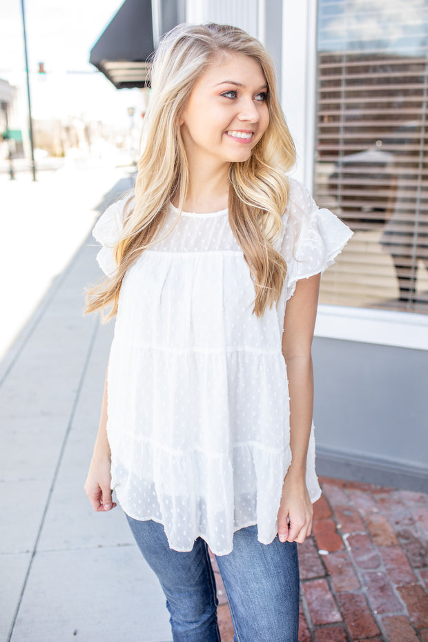 Jessalyn Swiss Dot Babydoll Top Off White