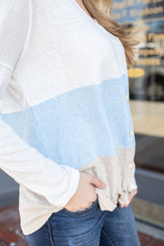 Britt Button Color Block Top