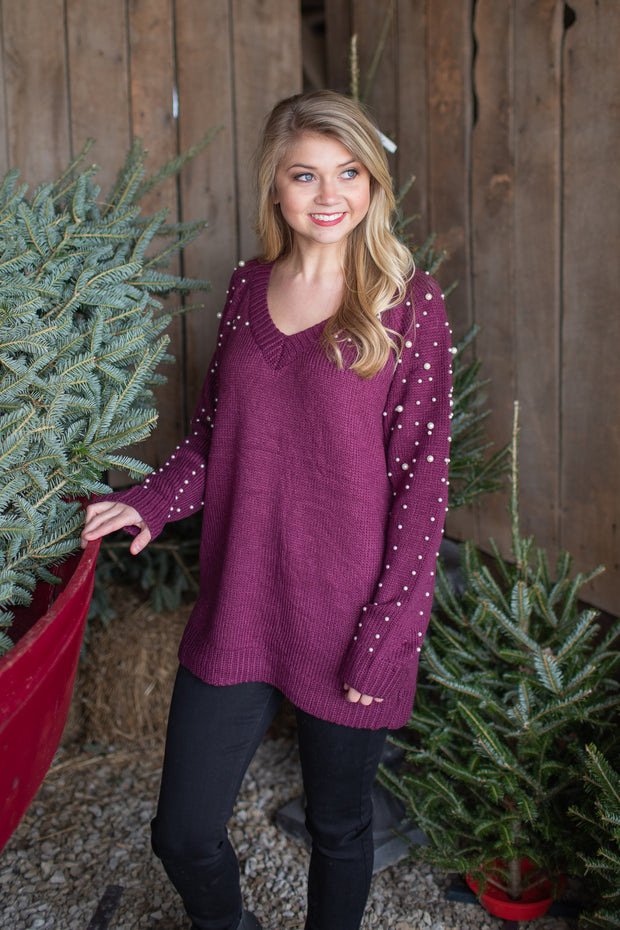 """A Wonderful Time"" Knit V-Neck Pearl Sweater Wine - FINAL SALE"