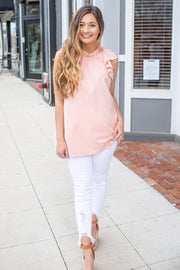 Quinn Ruffle Top Peach
