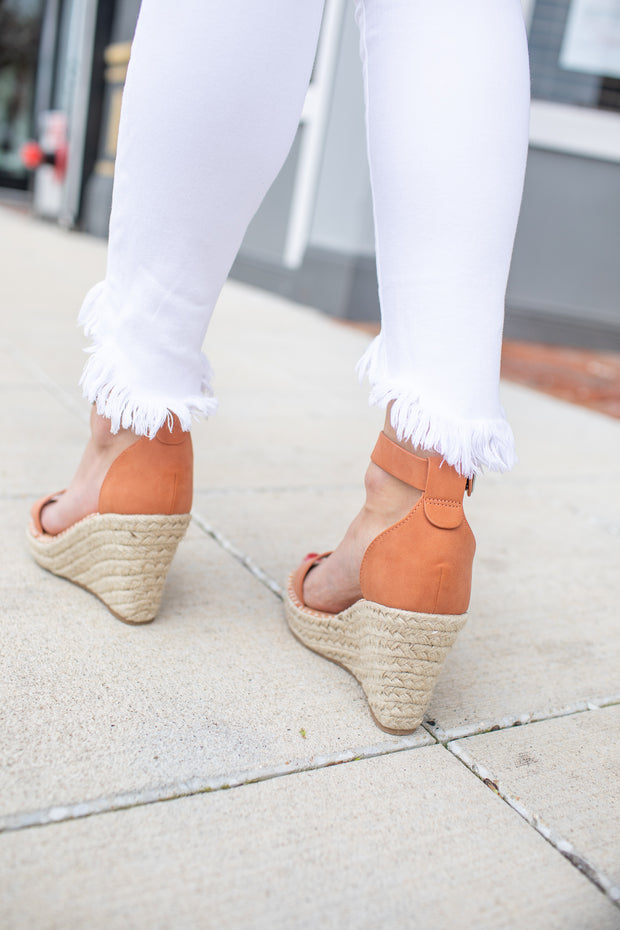 Brielle Wedge Sandals Dark Peach
