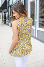"""Here With Me"" Floral Sleeveless Blouse Yellow"