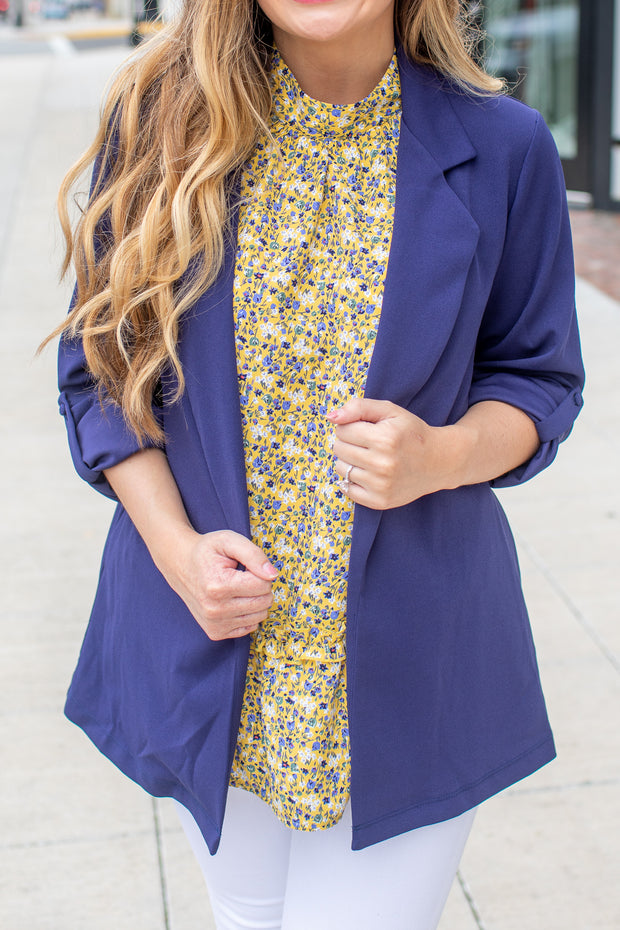 """Woman With A Plan"" Open Blazer Navy - SALE"