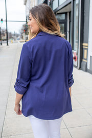 """Woman With A Plan"" Open Blazer Navy"