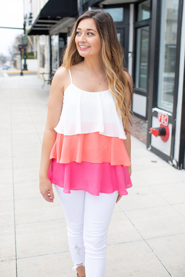 """Bring the Joy"" Tiered Ruffle Blouse"
