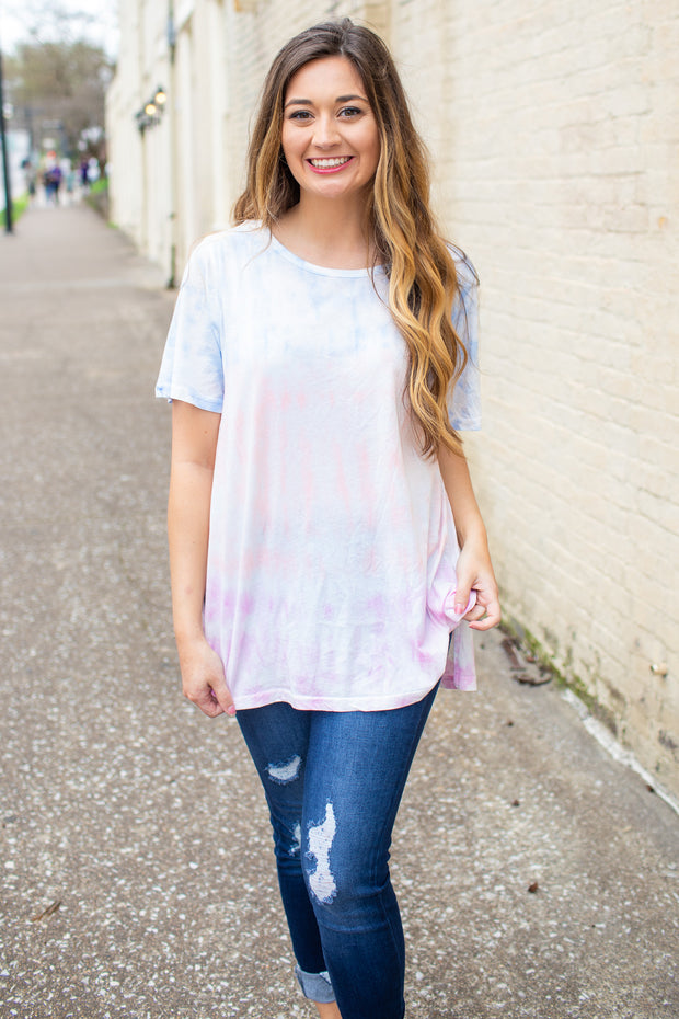 """Feelin' Good"" Tie-Dye Short Sleeve Top"