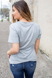 """Back To Basics"" Solid V-Neck Top Grey"