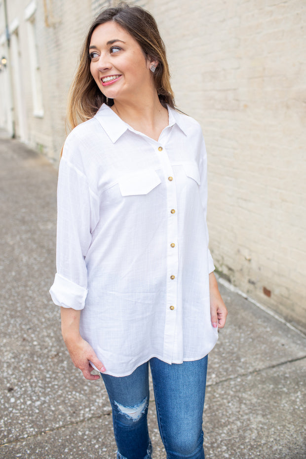 """Feel the Breeze"" Button Down Blouse"