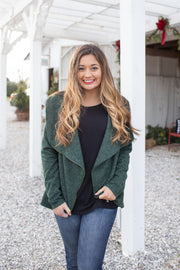 Holly Detailed Lapel Zip Jacket Green