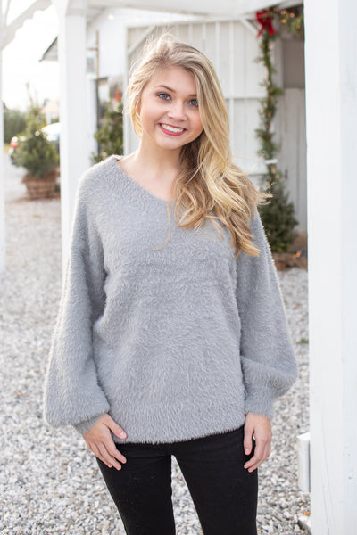 Mandy Fuzzy V-Neck Sweater Light Grey