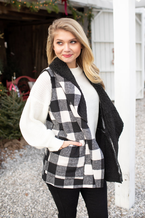 """Season of Freezin'"" Buffalo Plaid Sherpa Vest"