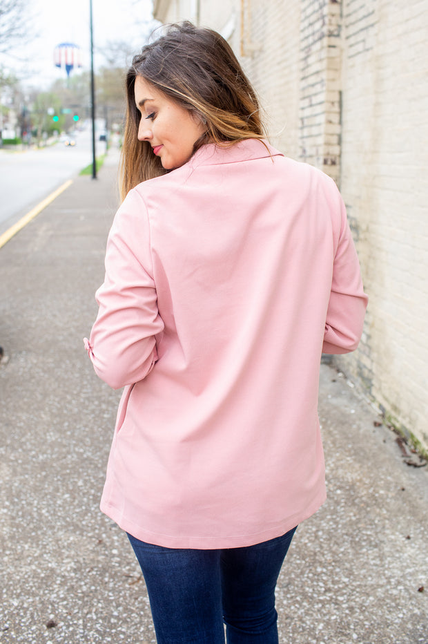 """Woman With A Plan"" Open Blazer Rose"