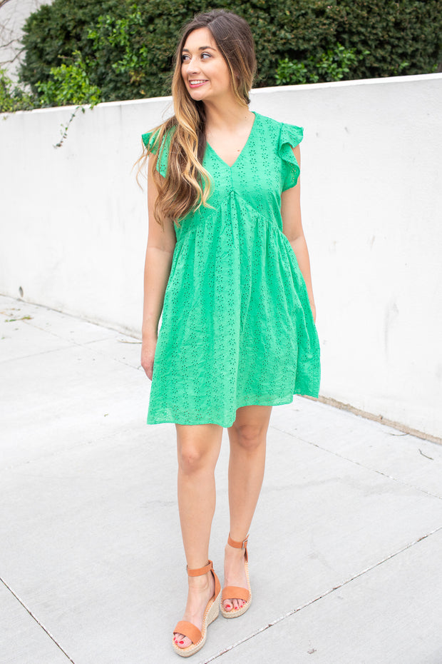 Grace Short Eyelet Dress Kelly Green