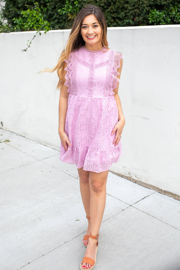 Posie Ruffle Lace Dress Lilac
