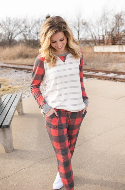 Michaela Buffalo Plaid & Stripe Top