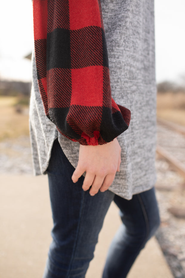 Carolyn Buffalo Plaid Balloon Sleeve Top