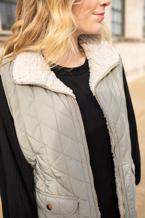"""Switch It Up"" Reversible Quilted Sherpa Vest Olive"