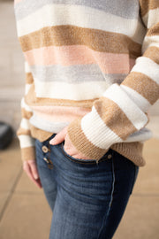 Cole Striped Sweater Brown/Pink