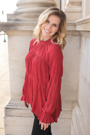 Ruby Ruffle Blouse Red