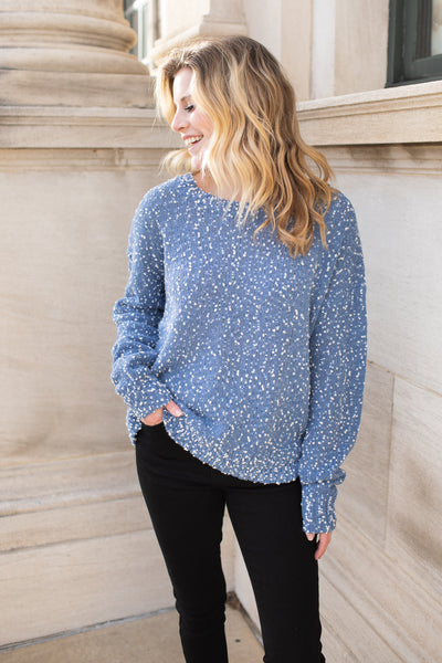 """Snow Flurries"" Dot Sweater Blue"