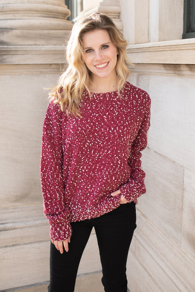 """Snow Flurries"" Dot Sweater Ruby"