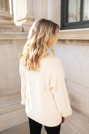 Dove Fuzzy V-Neck Sweater Ivory