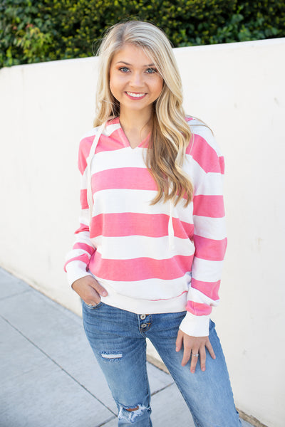 Katy Striped Hoodie Coral/White