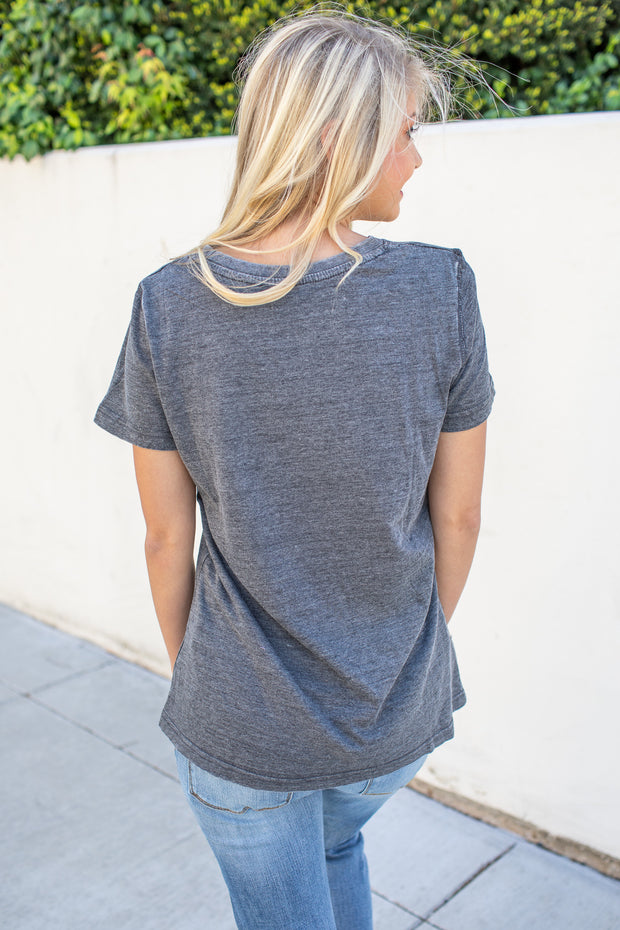 """Keep It Simple"" Crew Neck Top Charcoal - FINAL SALE"