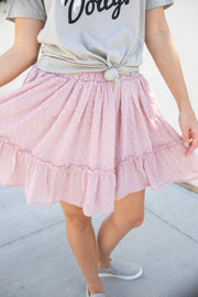 """Such A Flirt"" Swiss Dot Skirt Rose"