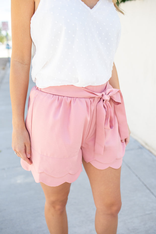 """The Best Day"" Scalloped Shorts Taupe"