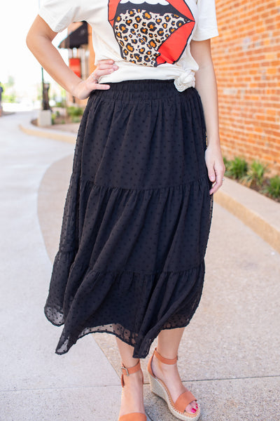 """Sway With Me"" Swiss Dot Midi Skirt Black"