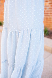 """Sway With Me"" Swiss Dot Midi Skirt Dusty Blue"