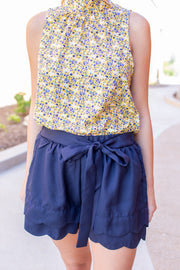 """The Best Day"" Scalloped Shorts Navy"