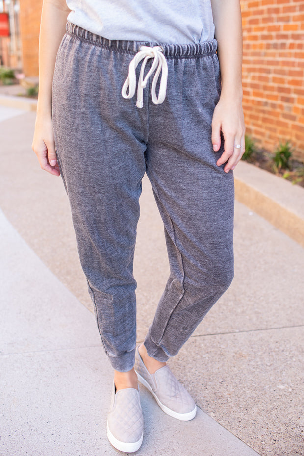 """Let's Stay Home"" Drawstring Joggers Charcoal"