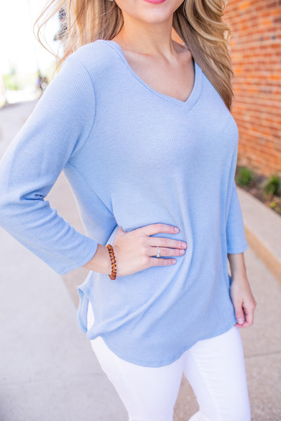 """Easy Breezy"" V-Neck Top Baby Blue"