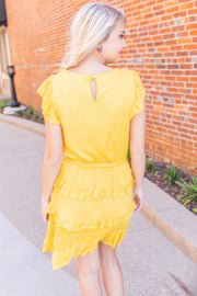 Here Comes The Sun Ruffled Dress Yellow