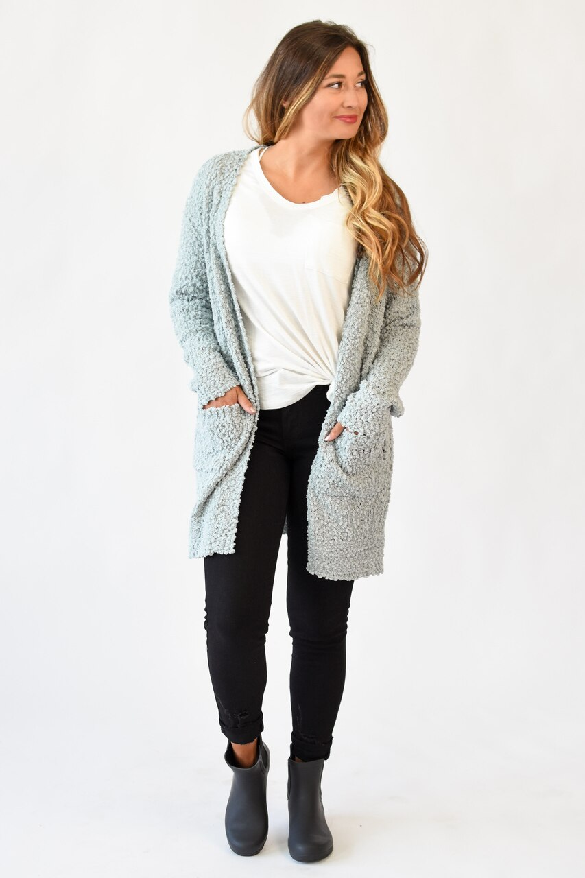 Ready For Anything Popcorn Cardigan Dusty Sage
