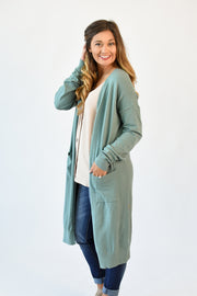 Camilla Buttery Soft Open Cardigan Pale Olive
