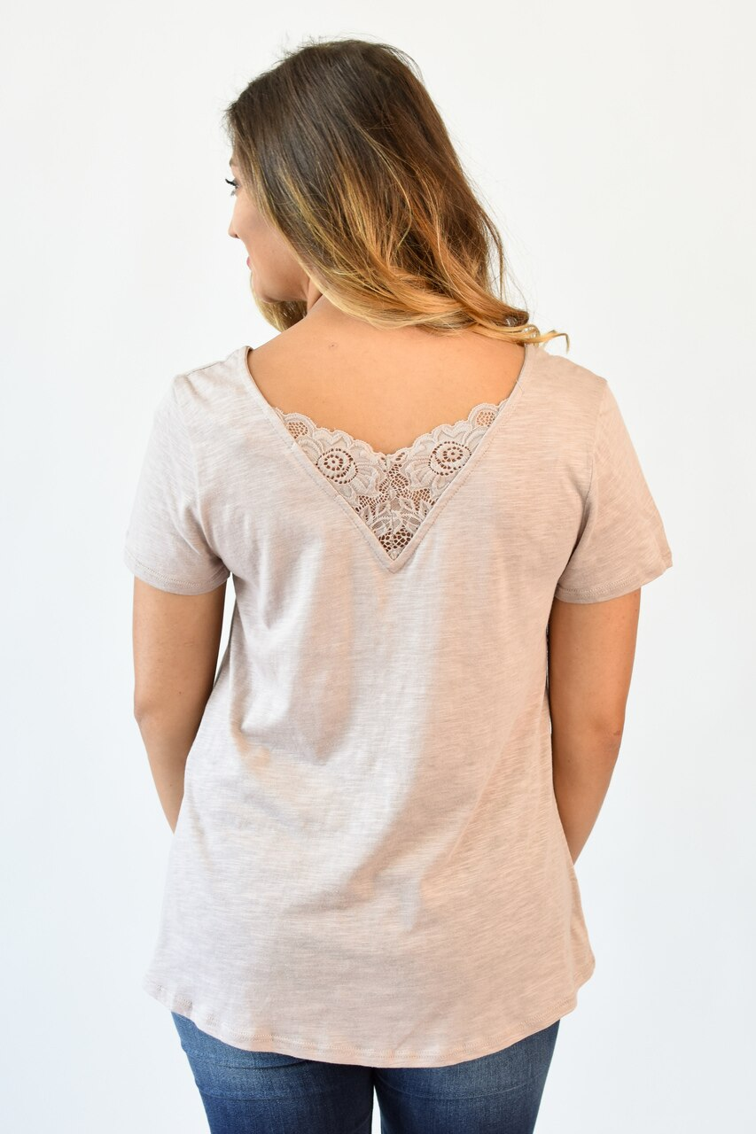 The Go-To Lace V-Neck Tee Blush