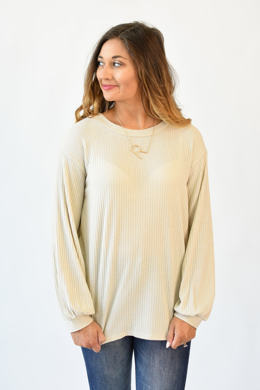 Logan Balloon Sleeve Ribbed Top Oatmeal