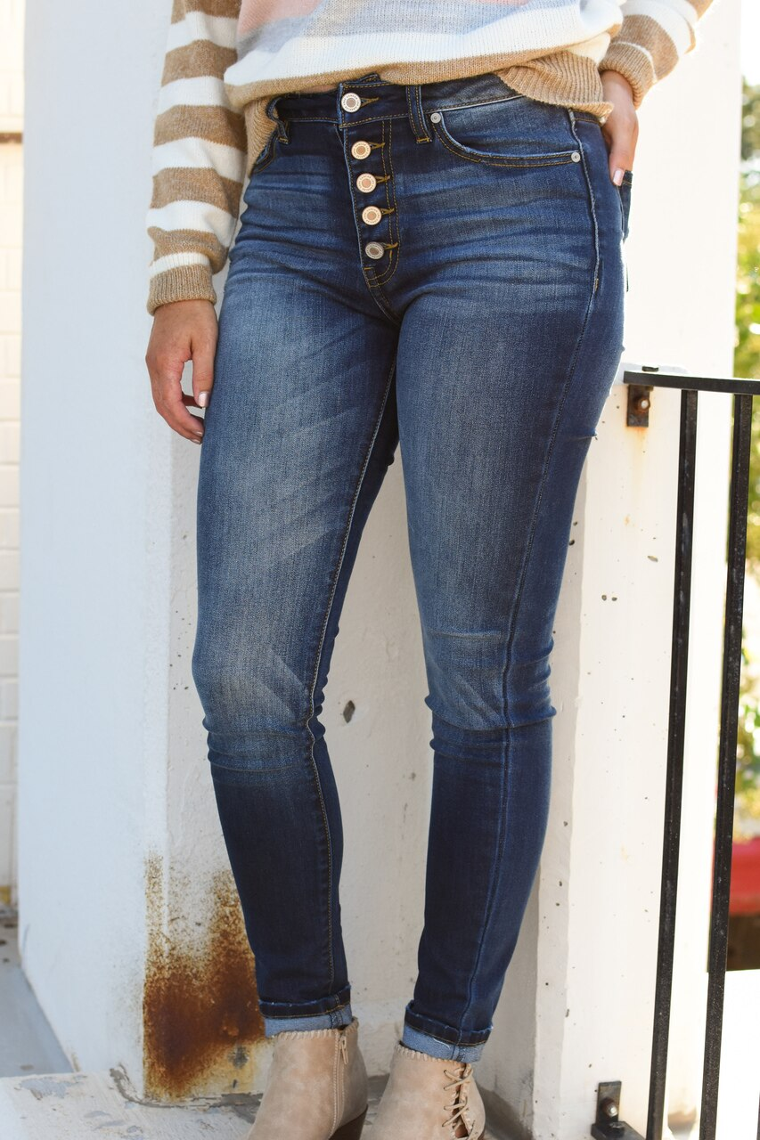 Maxine Button Fly Jeans Dark Wash