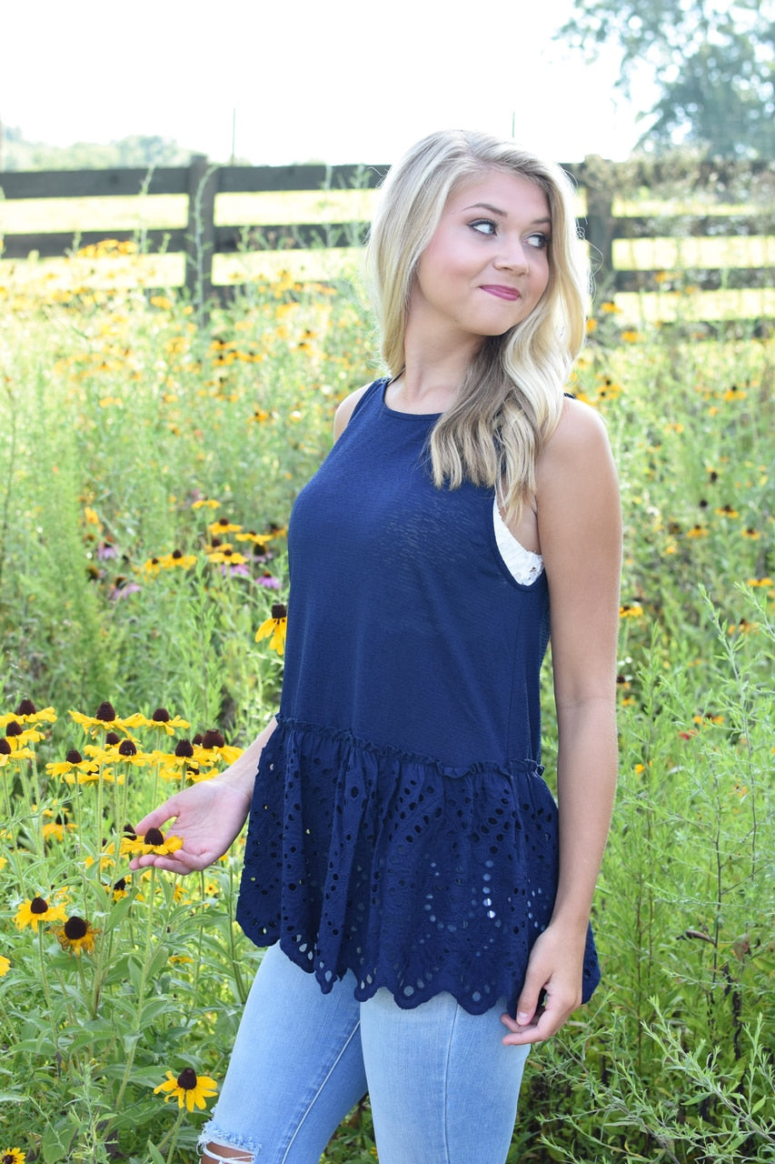 Reese Eyelet Ruffle Sleeveless Blouse Navy
