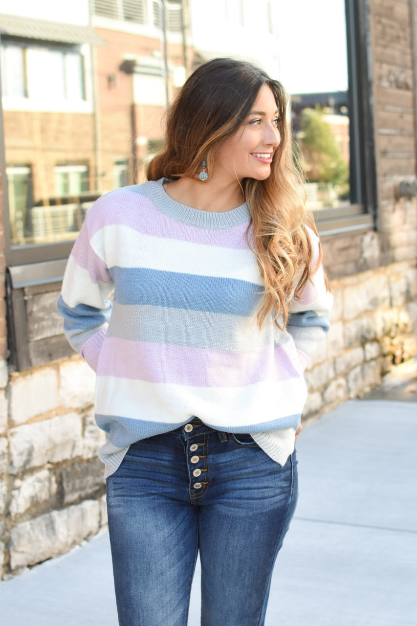 Elsa Stripe Sweater Grey/Lavender