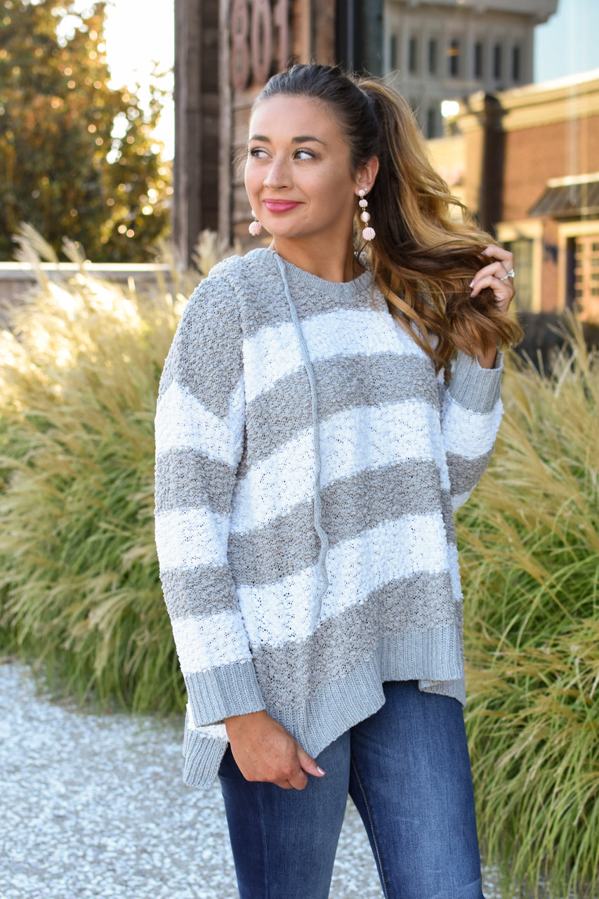 Presley Striped Hooded Popcorn Sweater Grey/Ivory
