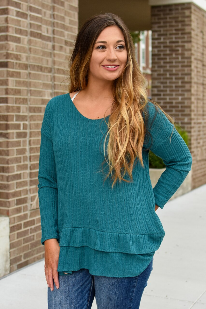 Mailey Knit Ruffle Top Teal